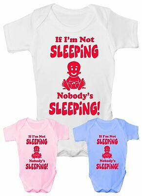If I'm Not Sleeping Funny Babygrow Vest Babies Gift Boy Girl Baby Clothing