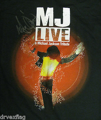 Michael Jackson Tribute T-shirt MJ LIVE Hand Signed by Michael Firestone Size M
