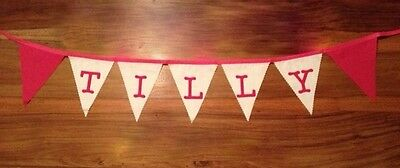 Pink White Personalised Fabric Bunting BEDROOM Gift Party Decoration £2 a Letter