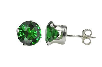 Sterling Silver Round Emerald Green Prong CZ Stud Earrings .925