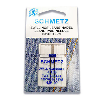 Schmetz Twin Jeans Needle 4.0mm Size 100/16 - Great for Denim, Leather, Suede