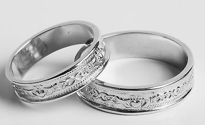 Set Irish Handcrafted Sterling Silver Claddagh Wedding Band Rings all sizes