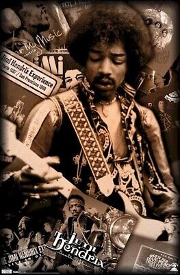JIMI HENDRIX ~ SEPIA CAREER COLLAGE 22x34 MUSIC POSTER Rock Guitar NEW/ROLLED!