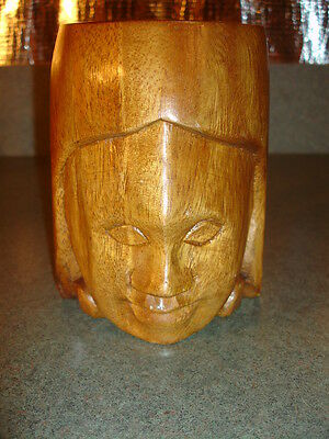 """Tiki Carved Wood Mug with face in front and handle all one piece 5"""" Tall 4"""" Wide"""