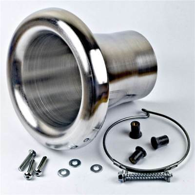 Revotec High Flow Bell Mouth Air Inlet Intake Trumpet Suits 76mm Hose Silver