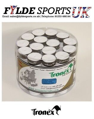 60 Tub x Tronex True Technology 0.8mm Thick Dry Overgrip - White - CLEARANCE