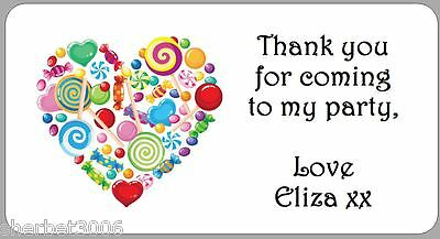 24 x Candy Heart Personalised Stickers Thank You Party Address Stickers Labels