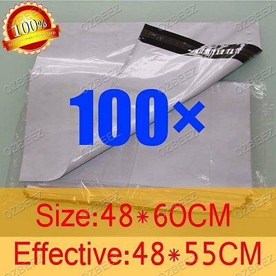 100 480 x 600mm Poly Courier Plastic Bag Mailer Mailing Satchel self seal