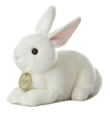 Miyoni Realistic 8 inch White Laying Easter Bunny Life Like. Extra detailed face