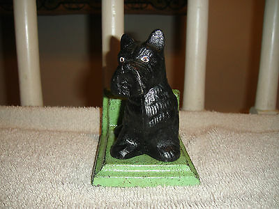 Scottish Terrier Cast Iron Bookend-Heavy-Terrier Screwed On Base-Green & Black