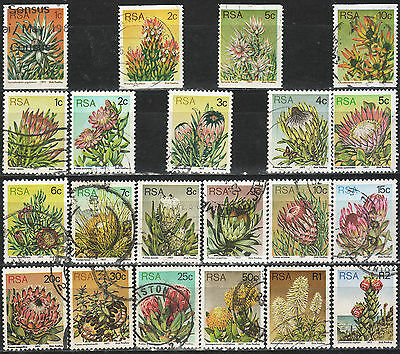 SOUTH AFRICA 1977 3rd DEFINITIVE ISSUE PROTEAS COMPLETE USED SET + COILS 1473
