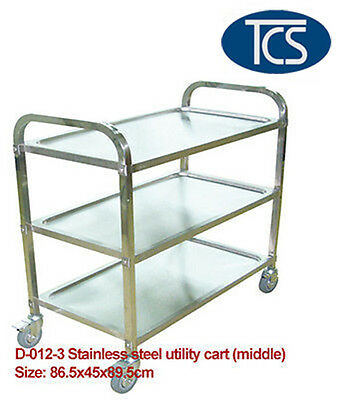 New Middle 3 Tier Stainless Steel Kitchen Dining Trolley Serving Utility Cart