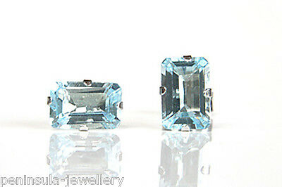 9ct White Gold Blue Topaz Studs earrings Gift Boxed Made in UK