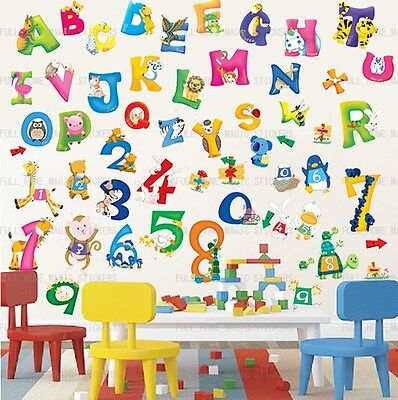Large 54pc Alphabet Animal Number ABC 123 Educational Wall Stickers Kids Nursery