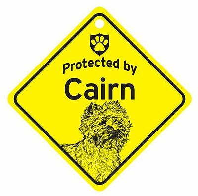 Protected by Cairn  Dog Car Window Sign