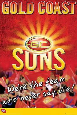 AFL Gold Coast Suns Logo POSTER 60x90cm NEW * aussie rules footy football team