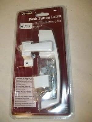 "New Ironman 62736 White Push Button Door Latch Handle doors 3/4"" to 1-1/4"" thick"