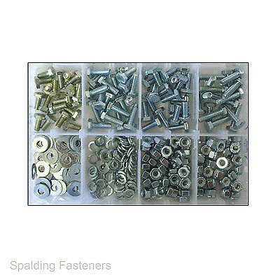 "Assorted 1/4"" UNC Zinc Plated Set Screw Fully Threaded Bolts, Nuts & Washers"