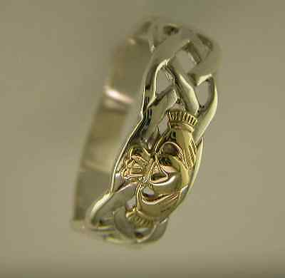 Gents Silver and 14k Gold Irish Handcrafted Claddagh and Celtic Design Ring