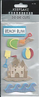 BEACH BUM Summer 3d Scrapbook Stickers