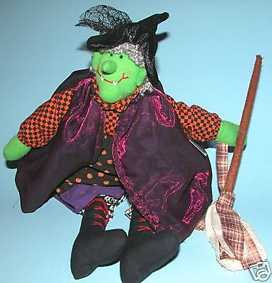 """Russ Berrie Halloween, green faced witch w broom """"Spellbound"""" #100782 plush new"""