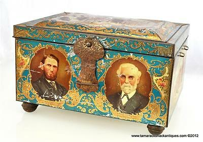 British 1863-1913 Co-Operative Wholesale Society CWS Jubilee Litho Chest Tin