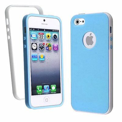 Lot of 5x, For iPhone 5 Blue White Premium Lightweight PC TPU Case Hybrid Cover