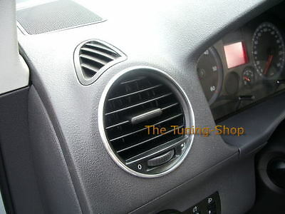 FITS VW CADDY 2003+ CHROME AIR VENTS SURROUNDS RINGS x 4