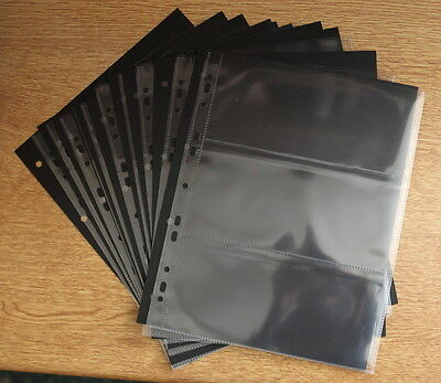 10 x 3 POCKET BANKNOTE ALBUM PAGES WITH BLACK INTERLEAVES