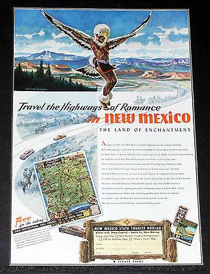 1951 OLD MAGAZINE PRINT AD, NEW MEXICO, VACATIONS IN THE LAND OF ENCHANTMENT!