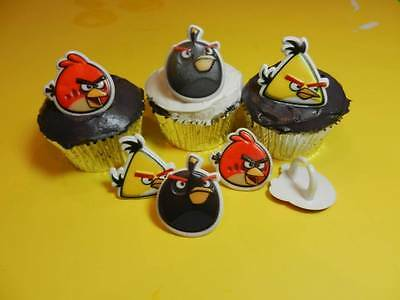 12 Angry Birds Character Rings Cupcake Toppers Cake Decorations Party Favors