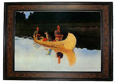 Frederic Remington An Evening on a Canadian Lake - Walnut Framed Canvas Print M