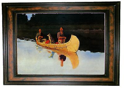 Frederic Remington An Evening on a Canadian Lake - Walnut Framed Canvas Print S
