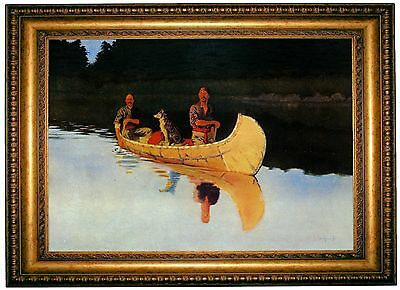 Frederic Remington An Evening on a Canadian Lake - Gold Framed Canvas Print M