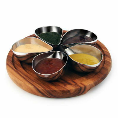 Dip / Condiment Set, 5 Stainless Steel Bowls on Acacia Wood Board, Athena 260mm
