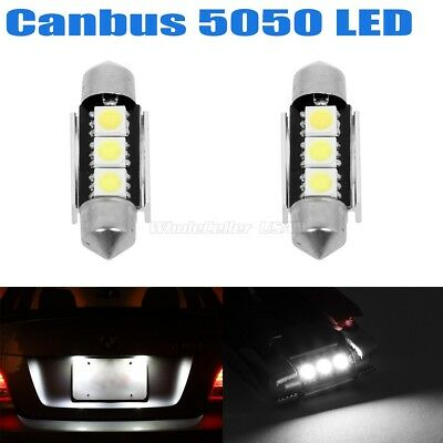 2x Error Free White LED License Plate Light Bulbs 3SMD Festoon 6418 C5W For BMW