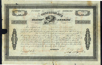 CONFEDERATE STATES of AMERICA $1000 HAND DENOMINATED STOCK 1863 SCIENCE # 4033