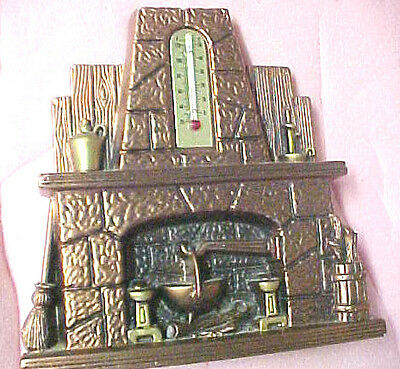 A6 Vintage 1973 Miller Studio Chalkware Thermometer fireplace hearth plaster