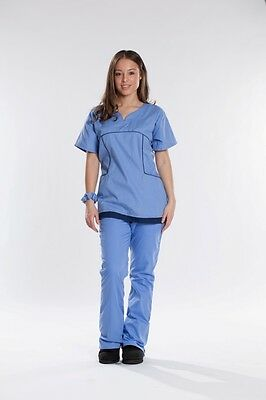 Adelie Body Fit New Stylish Nursing Scrubs Set Top + Pants Ceil Blue with Navy