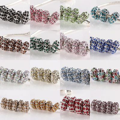 Colorful Crystal Rhinestone Rondelle Silvery Charm European Bracelet Beads Loose