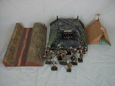 c1938 Moritz-Gottschalk Model Battlefield With 15 Lineol Soldiers