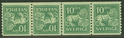 SWEDEN #118a 10ore Lion, TETE BECHE PAIR Tails Together, Strip of 4 Norsten cert