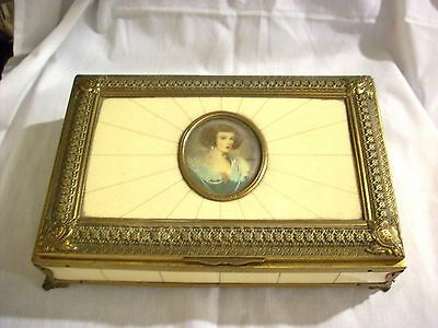 Old celluloide bronze  portrait  jewerly music box
