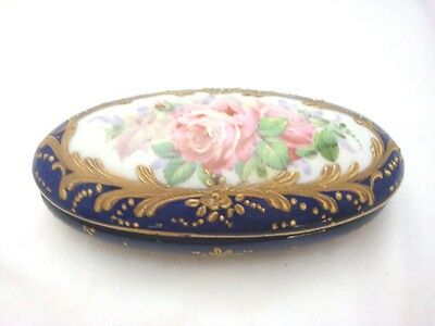 Old hand painted porcelain box signed numbered