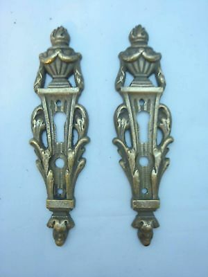 Old pair of solid bronze keyhole plates