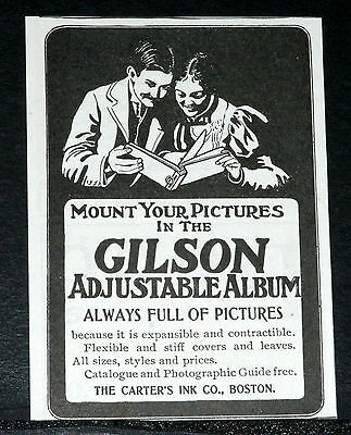 1900 Old Magazine Print Ad, Gilson Adjustable Photo Album, Is Full Of Pictures!