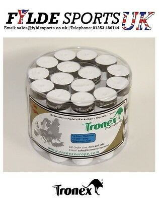 White Tennis Badminton Overgrips 60 Tub Fantastic Price Tronex True Technology