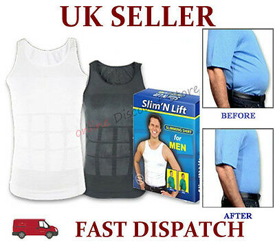 Mens Slimming Body Slim Chest Tummy Shaper Vest Under Shirt Waist Back Support