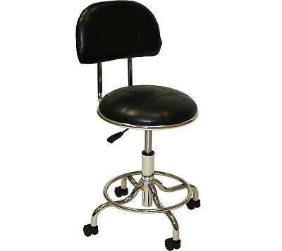 Black & Chrome Sturdy Foot Back Rest Stool Doctor Dentist Tattoo Salon Equipment