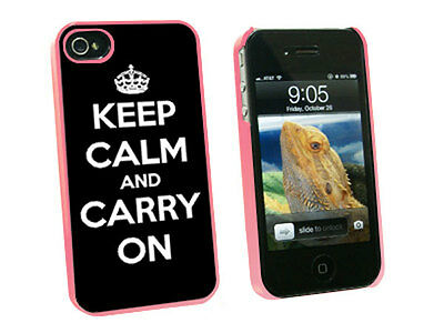 Keep Calm and Carry On Black - Hard Protective Case for Apple iPhone 4 4S - Pink